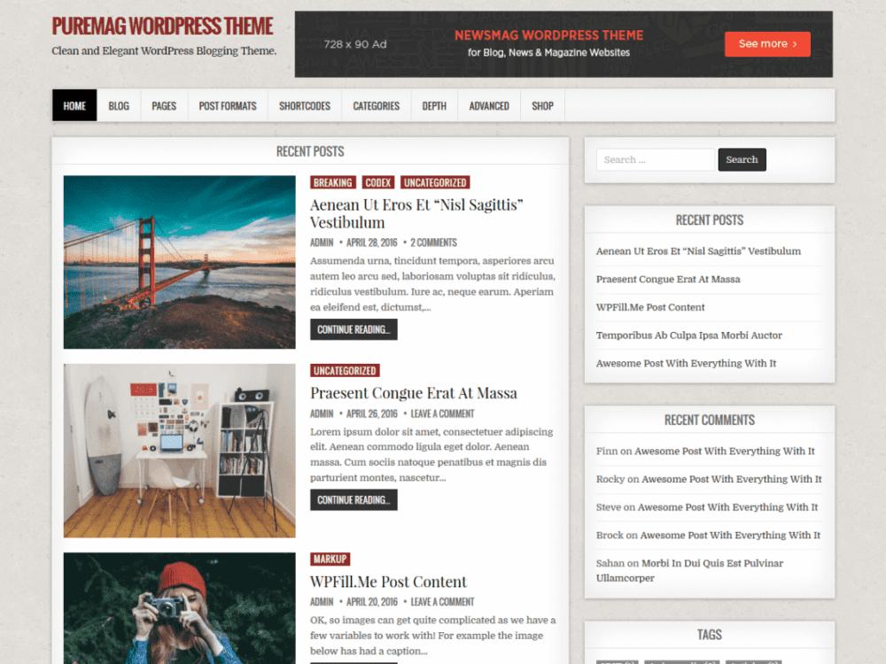 Free PureMag Wordpress theme