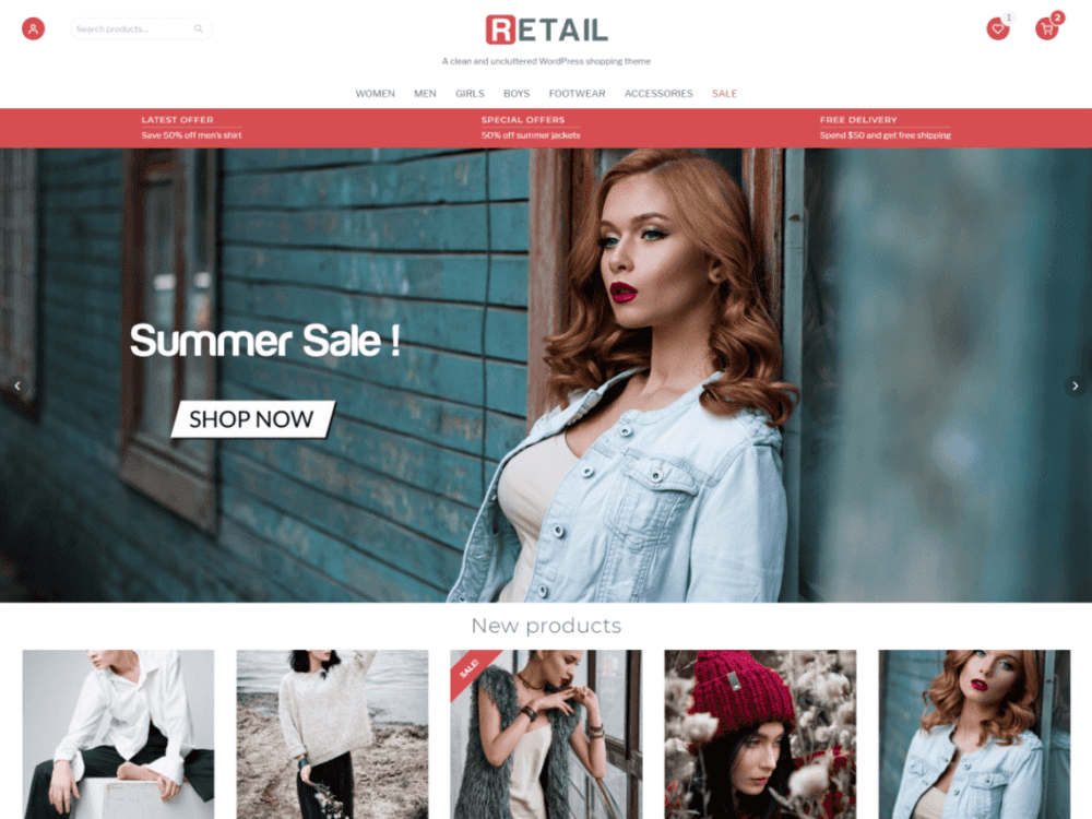 Free Retail Wordpress theme