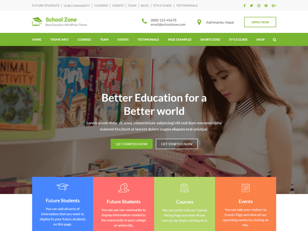 Free School Zone Wordpress theme