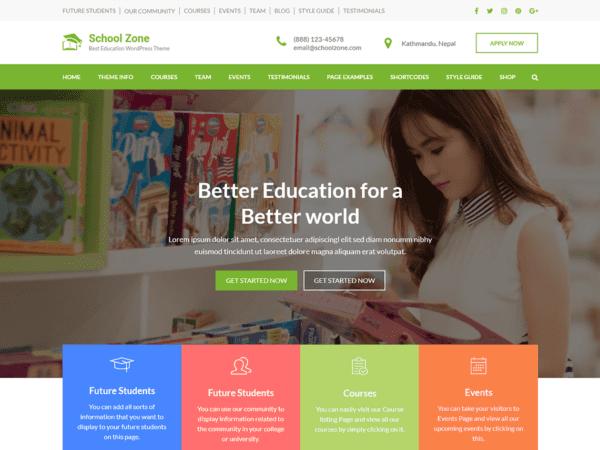 Free School Zone Wordpress theme