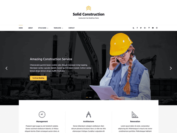 Free Solid Construction Wordpress theme
