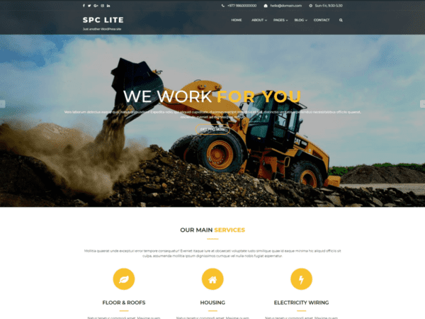 Free Spark Construction Lite Wordpress theme
