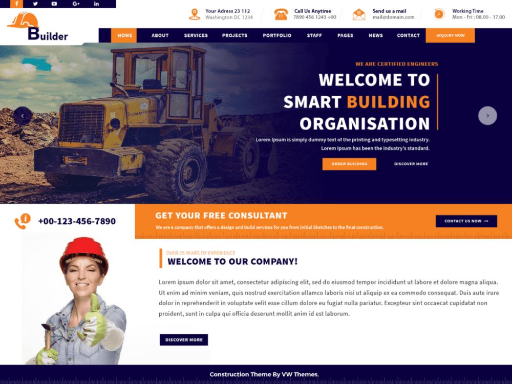 Free VW Construction Estat Wordpress theme