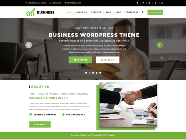 Free VW Corporate Business Wordpress theme