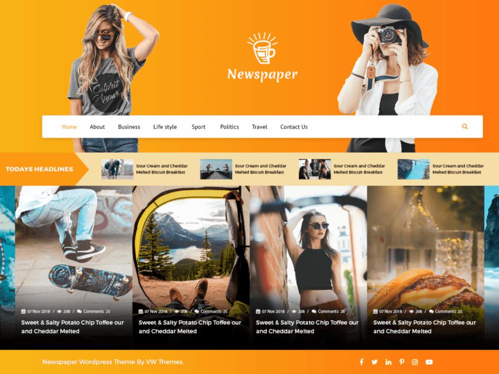 Free VW Newspaper Wordpress theme