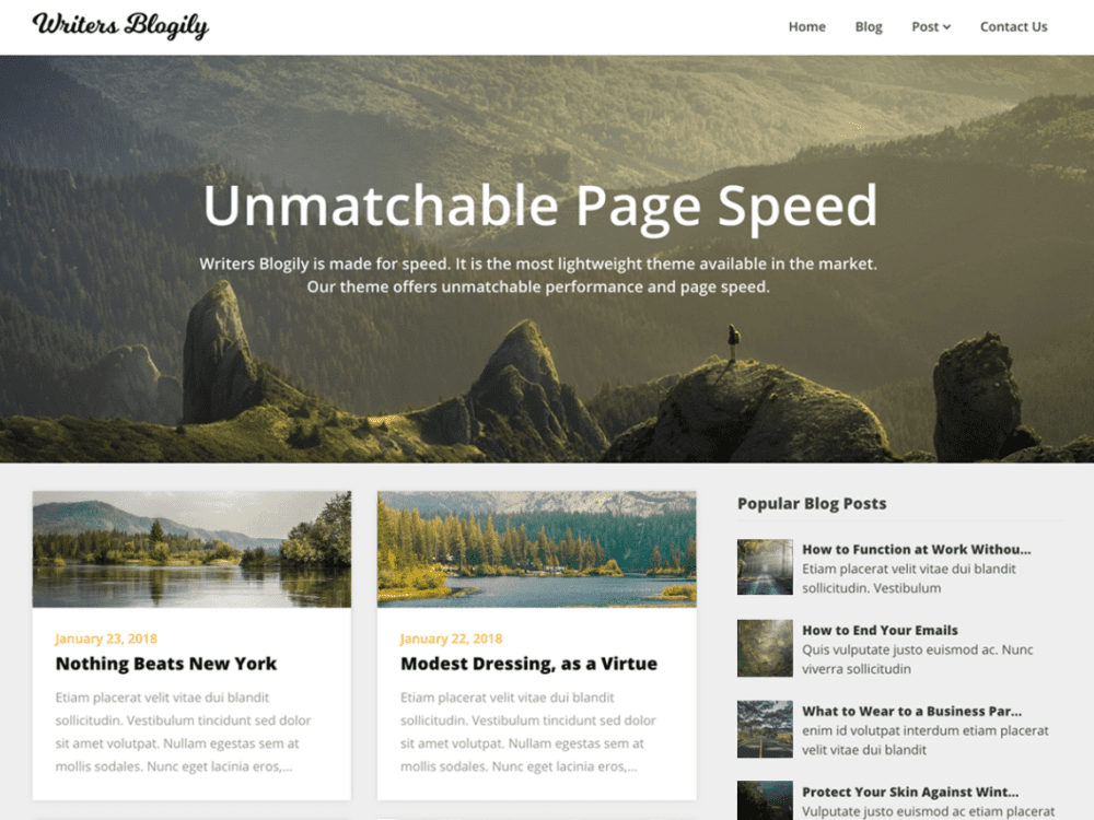 Free Writers Blogily Wordpress theme