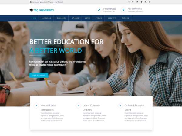 Free TPG University Wordpress theme