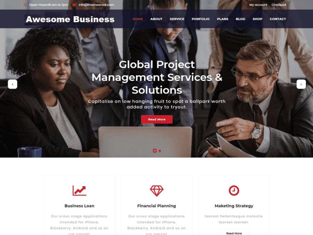 Free Awesome Business Wordpress theme