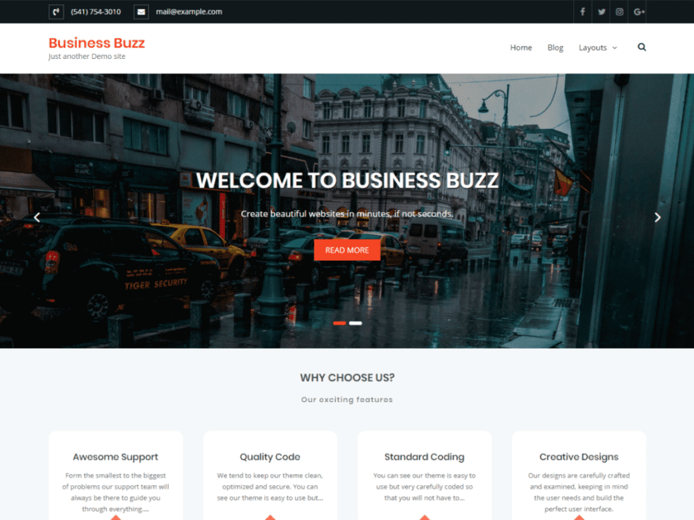Free Business Buzz Wordpress theme
