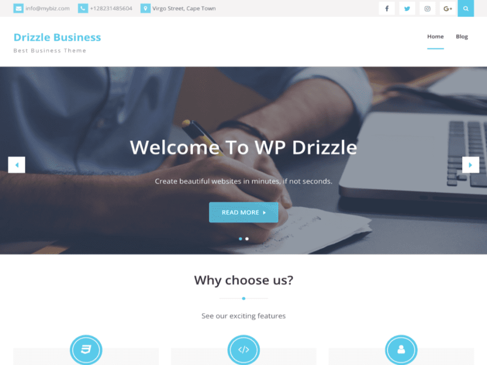 free Drizzle Business wordpress theme