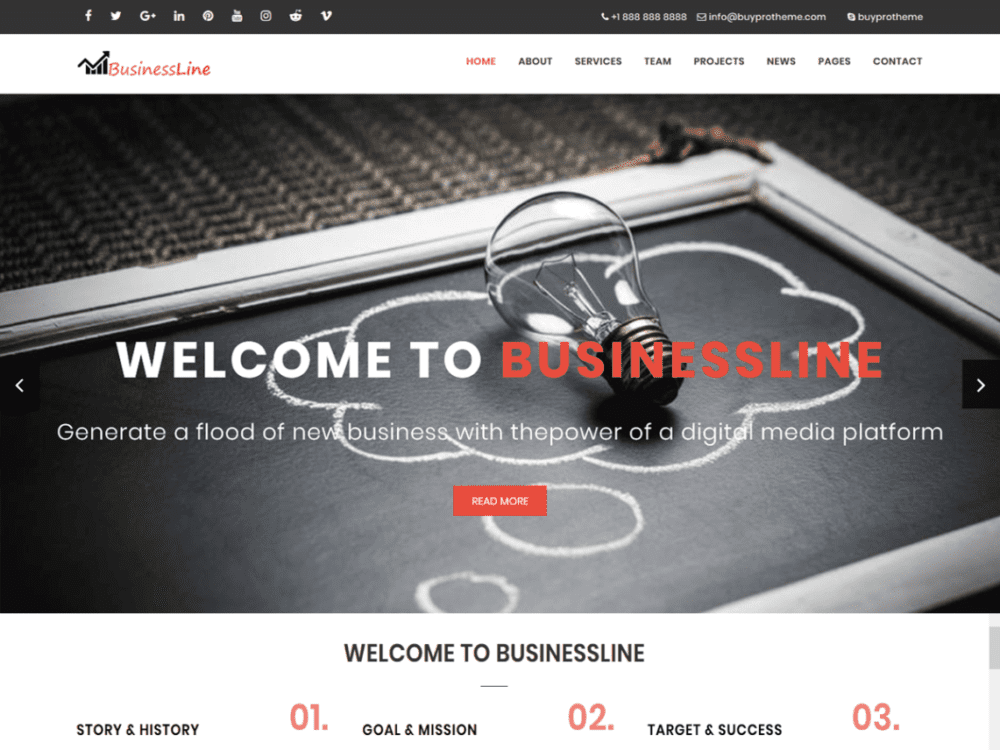 Free BPTBusinessLine Wordpress theme