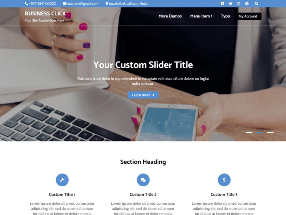 Free Business Click Wordpress theme
