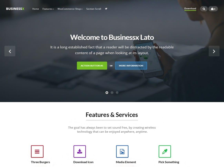 Free Businessx Lato Wordpress theme