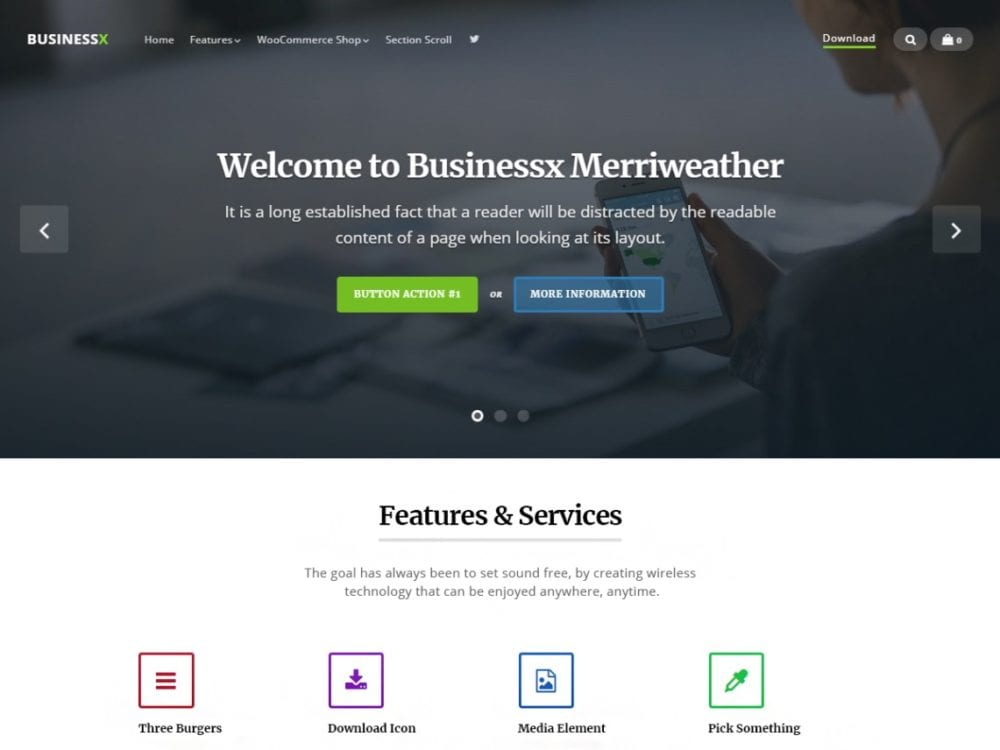 Free Businessx Merriweather Wordpress theme