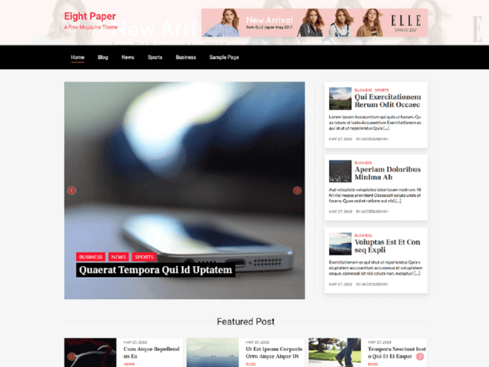 Free Eight Paper Wordpress theme