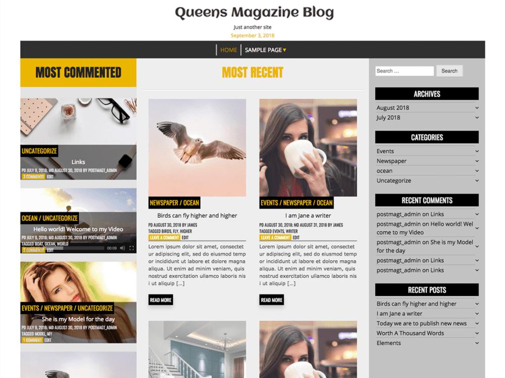 Free Queens Magazine Blog Wordpress theme