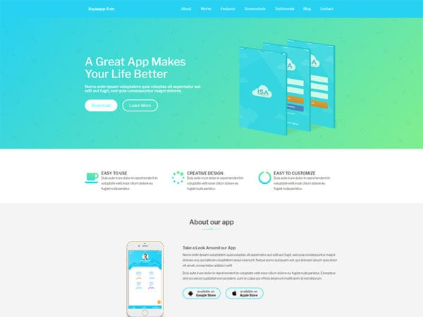 free aquaapp wordpress theme