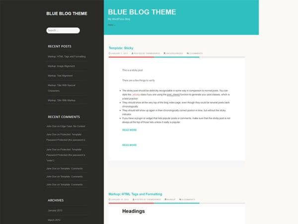 free blue east blog wordpress theme