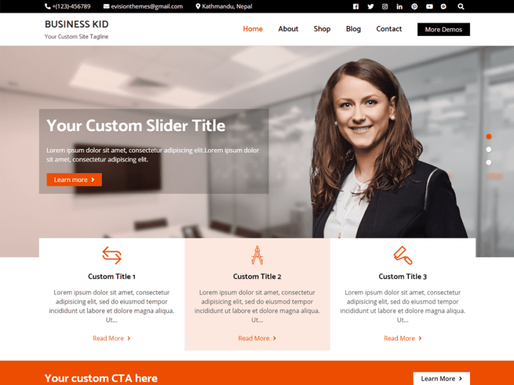 Free Business Kid Wordpress theme
