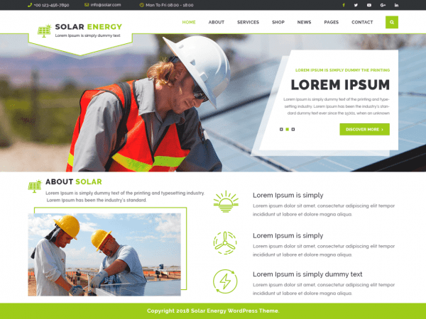 Free VW Solar Energy Wordpress theme