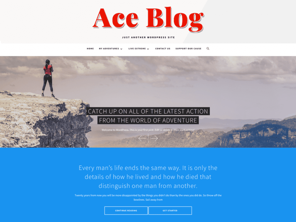 Free Ace Blog WordPress theme