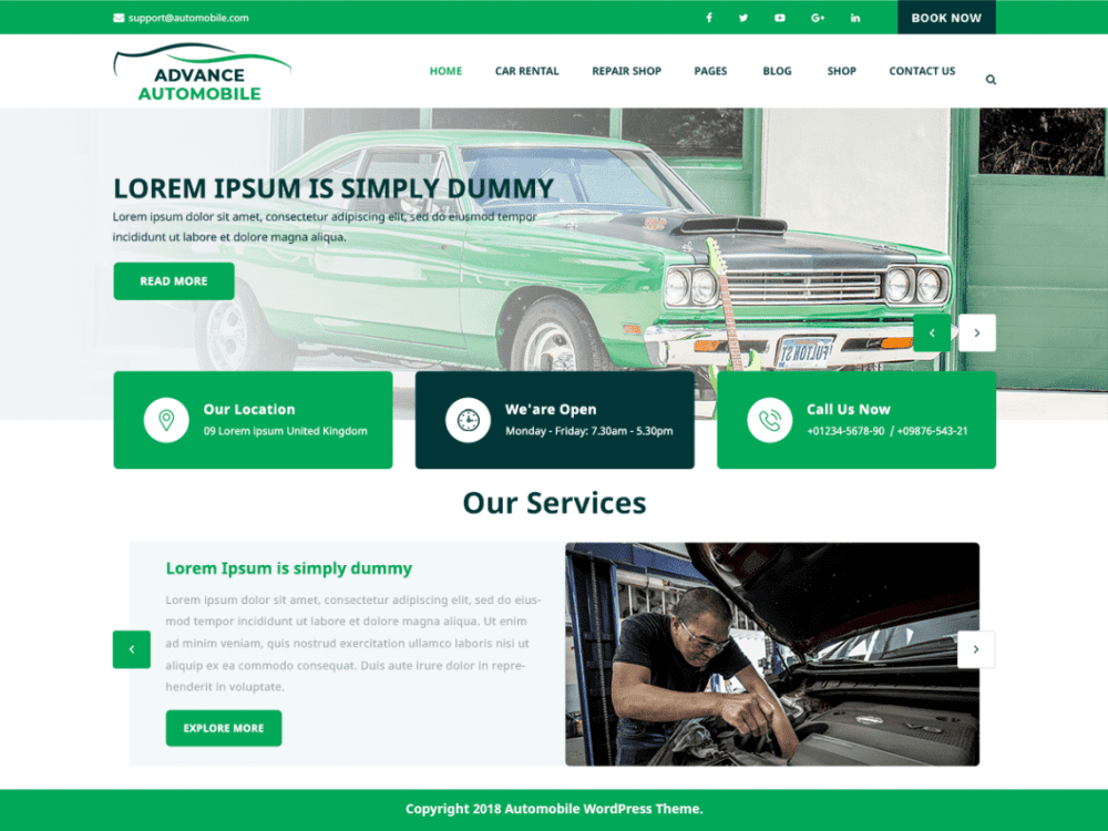 Free Advance Automobile WordPress theme