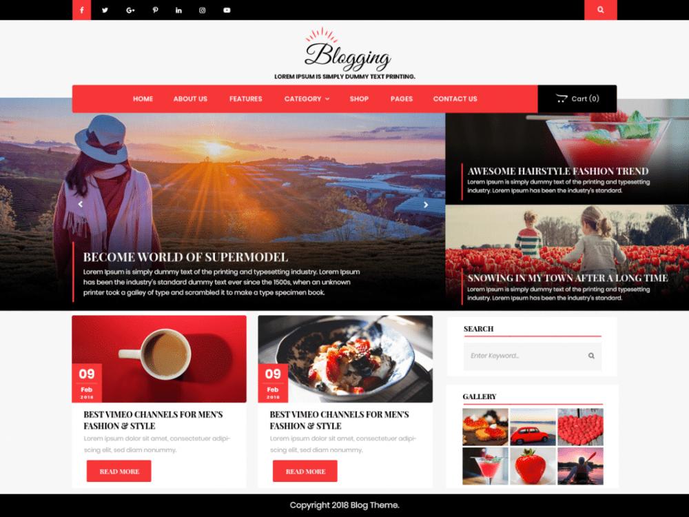 Free Advance Blogging WordPress theme
