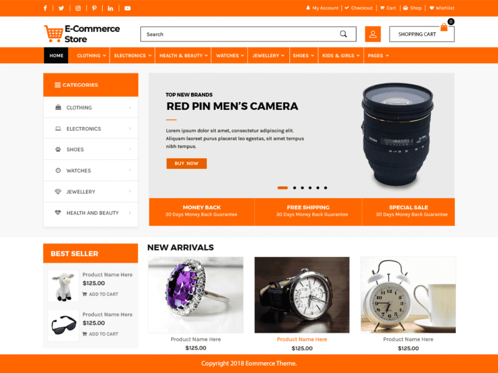 Free Advance Ecommerce Store WordPress theme