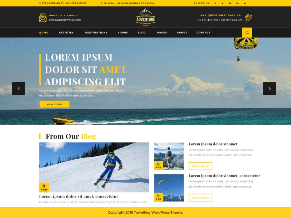Free Adventure Travelling WordPress theme