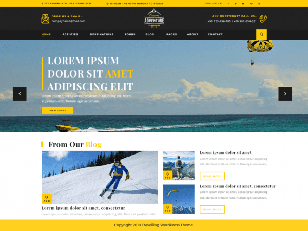 Free Adventure Travelling WordPress theme