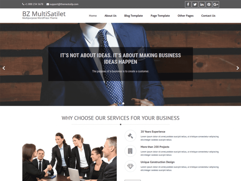 Free BZ MultiSatilet Corporate WordPress theme