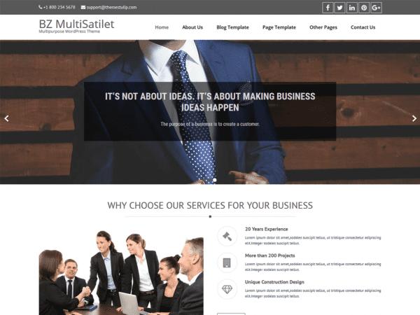 Free BZ MultiSatilet Corporate WordPress theme