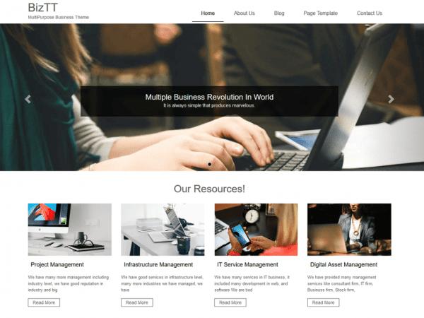 Free BizTT WordPress theme