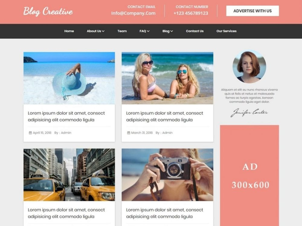 Free Blog Creative Wordpess theme