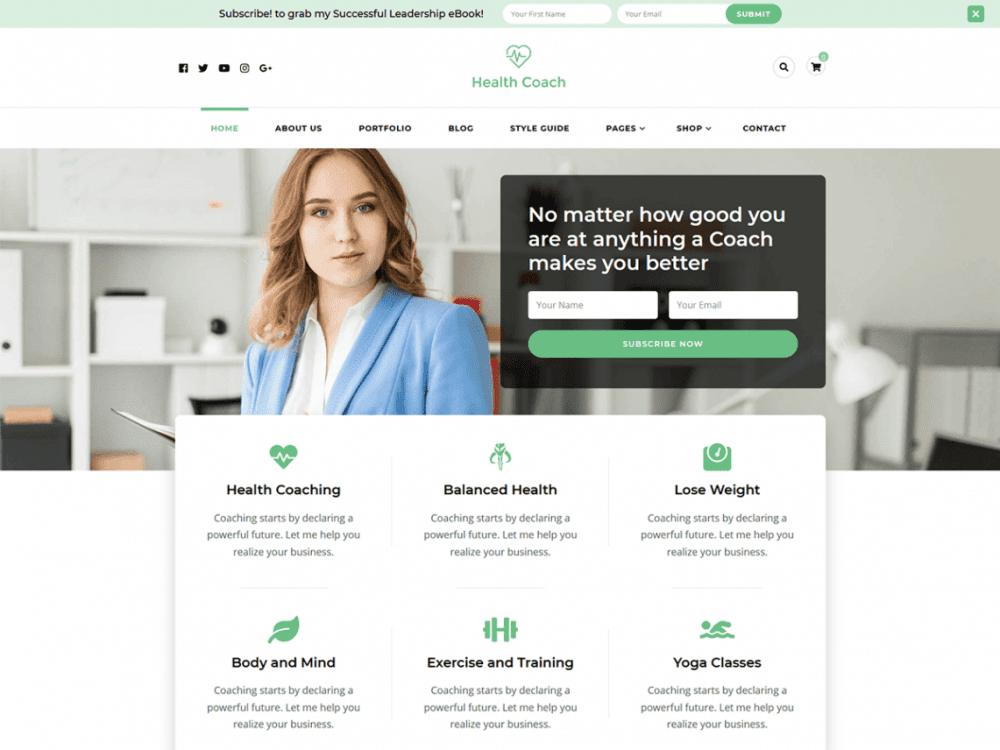 Free Blossom Health Coach WordPress theme
