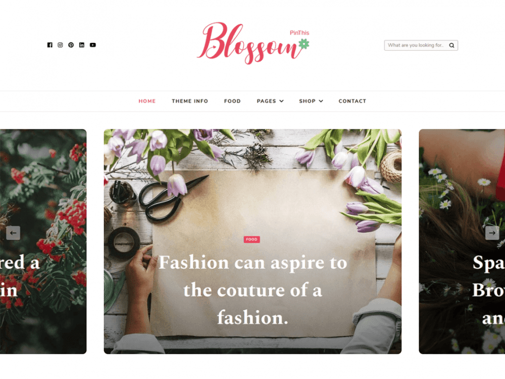 Free Blossom PinThis WordPress theme