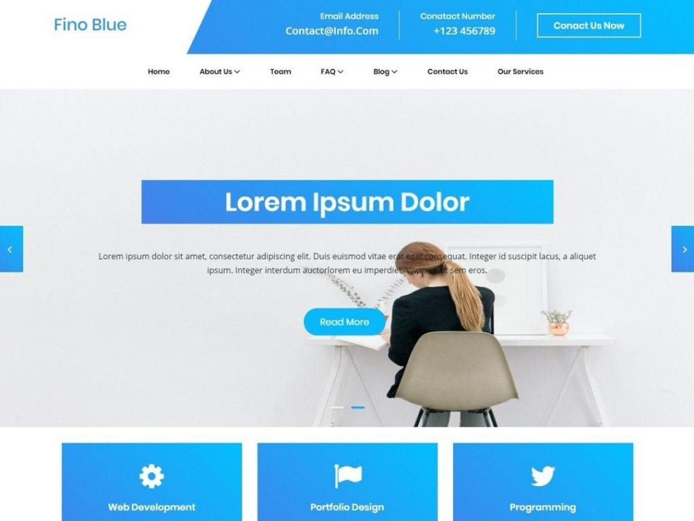 Free Blue Fino WordPress theme