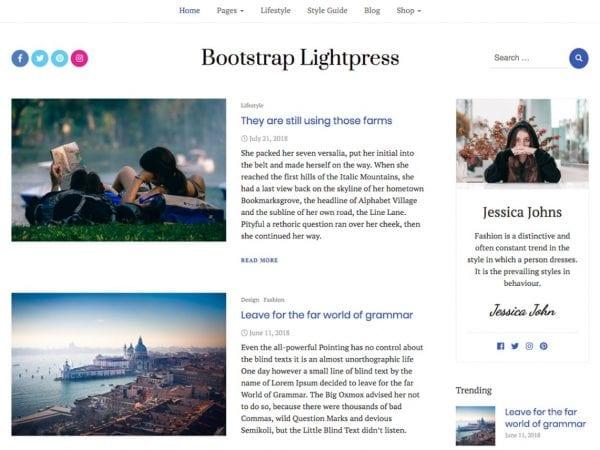 Free Bootstrap Lightpress WordPress theme