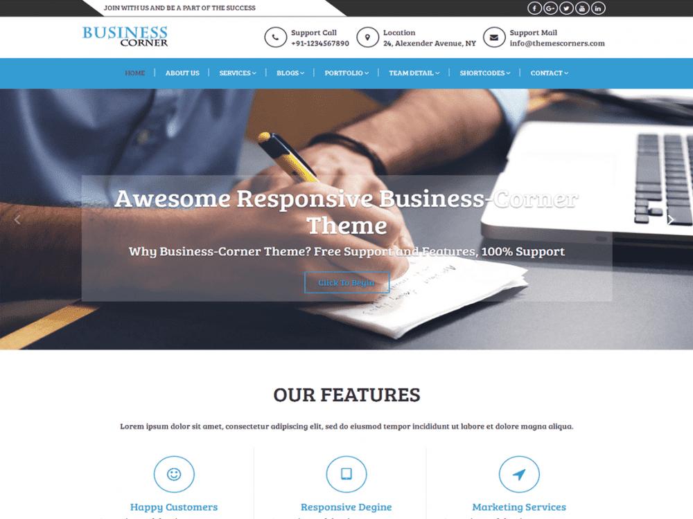 Free Business Corner WordPress theme