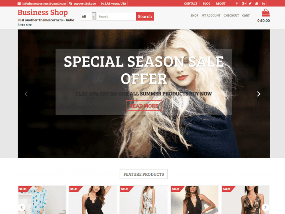 Free Business Shop WordPress theme