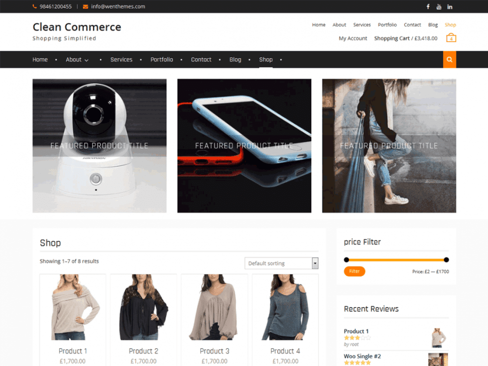 Free Clean Commerce WordPress theme