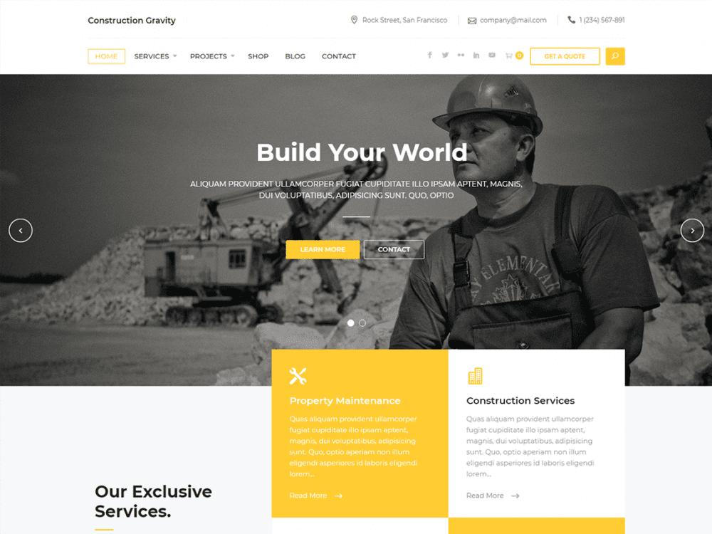 Free Constrution Gravity WordPress theme