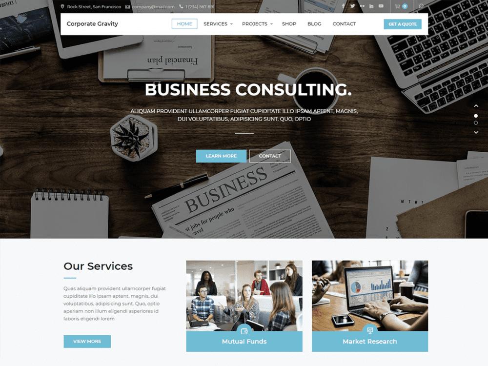 Free Corporate Gravity WordPress theme