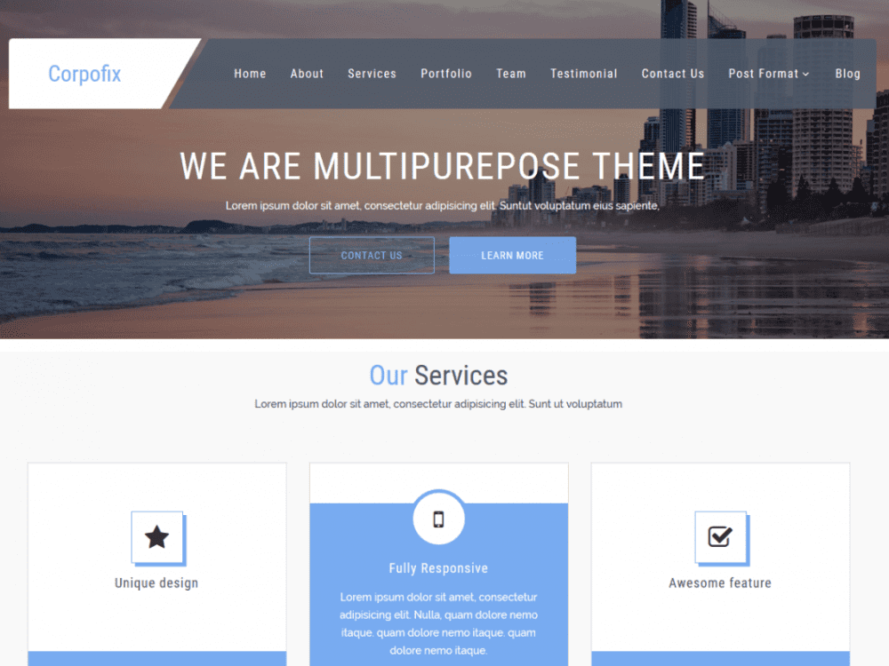 Free CorporateSource WordPress theme