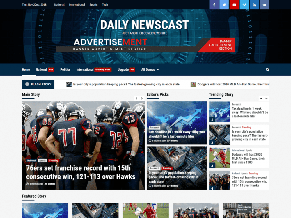 Free Daily Newscast WordPress theme