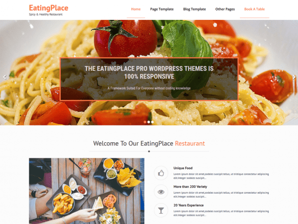 Free EatingPlace WordPress theme