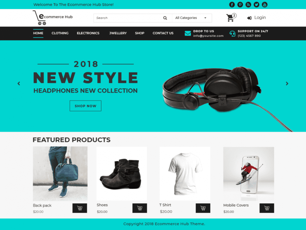Free Ecommerce Hub WordPress theme