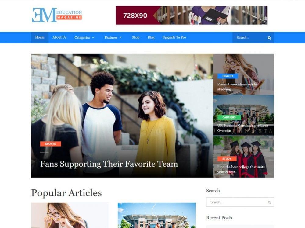 Free EduMag WordPress theme