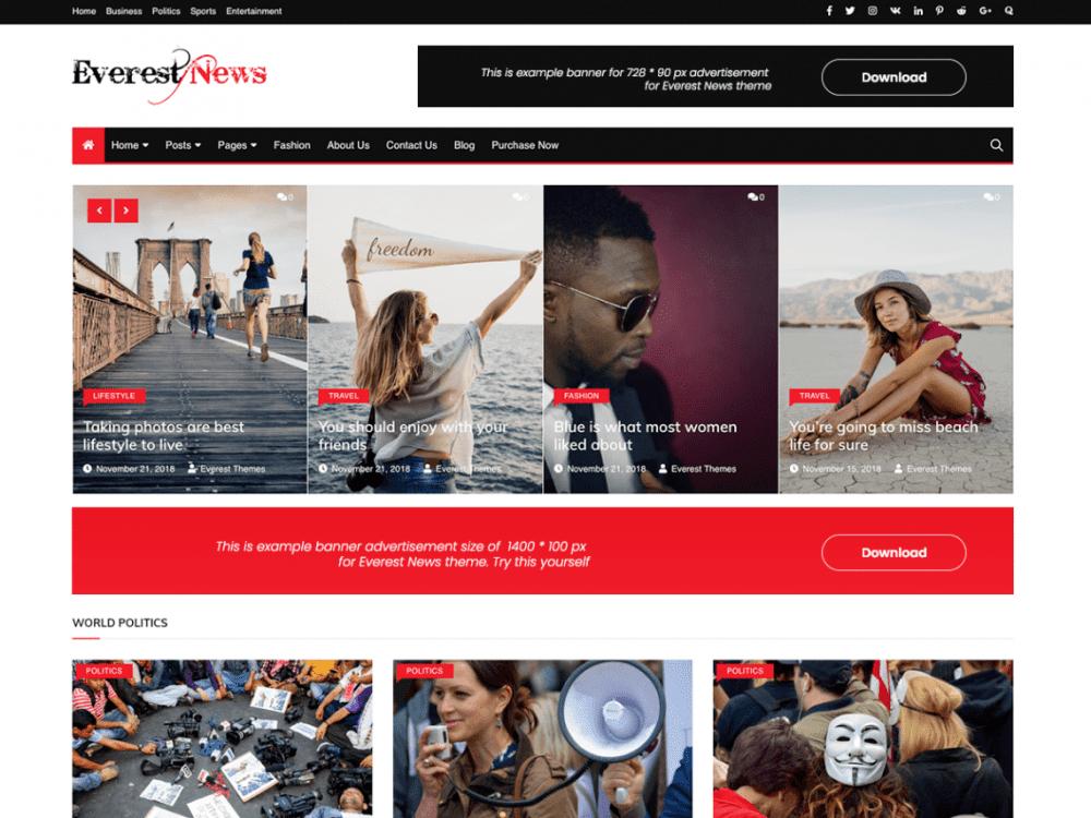 Free Everest News WordPress theme