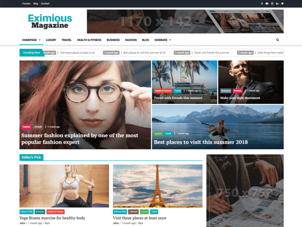 Free Eximious Magazine WordPress theme